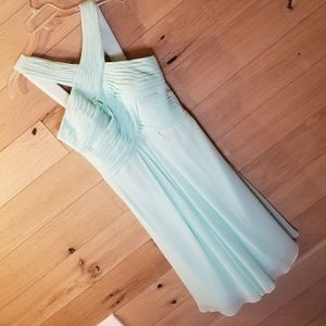 ❤ Azazie Kaleigh Knee Length Gown Mint Gre…